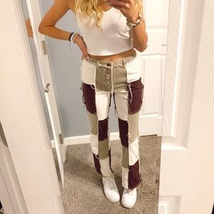 Brown Tan White patchwork mom jeans